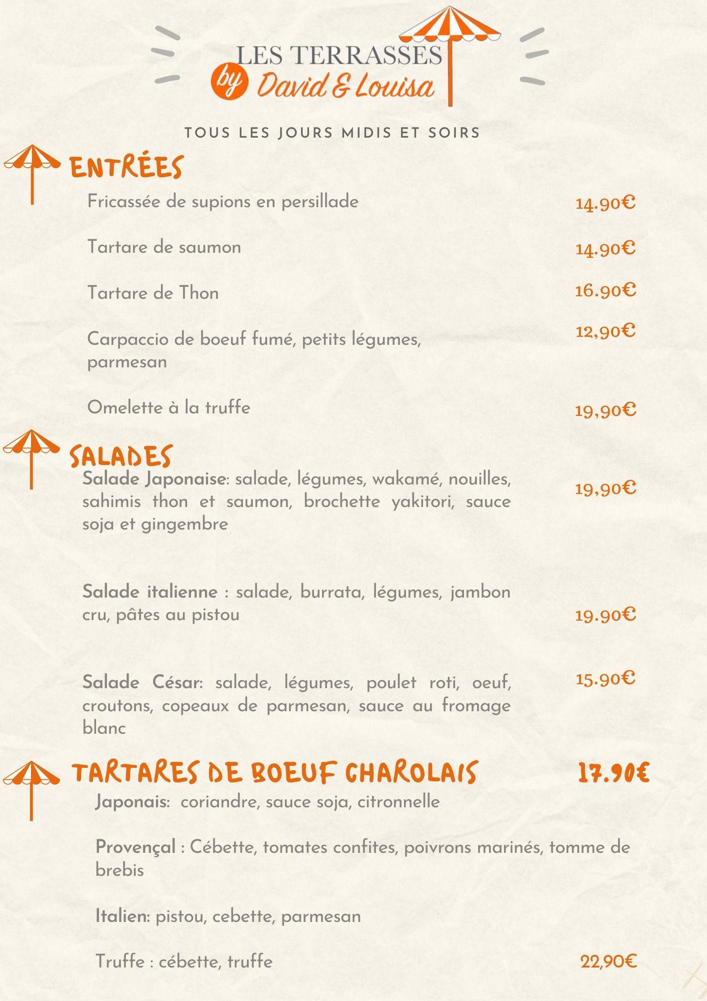 menu du restaurant les terrasses, les plats