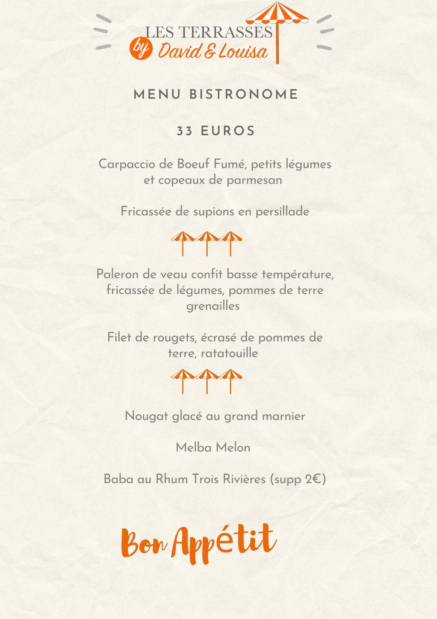 menu à emporter du restaurant les terrasses